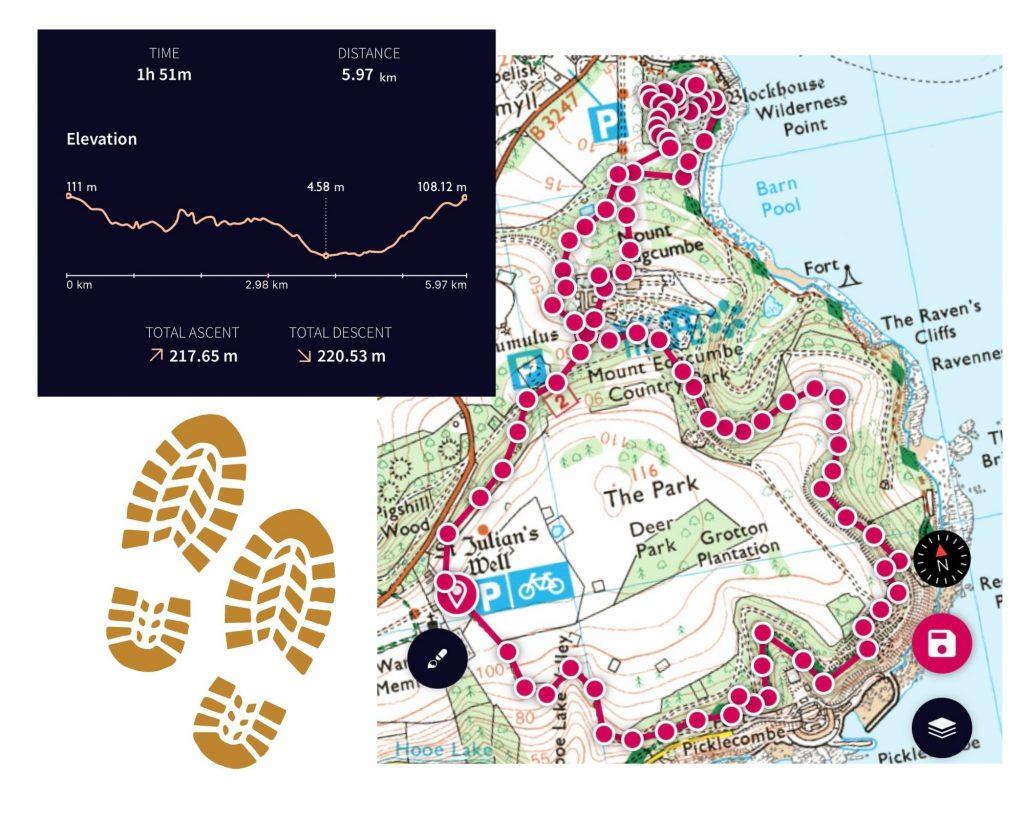 Mount Edgcumbe Walk Route